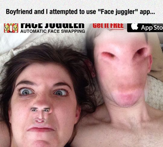 When Face Swap Apps Go Wrong. This is just scary. | the guy on the right looks like an alien from a lowbudget scifi movie.