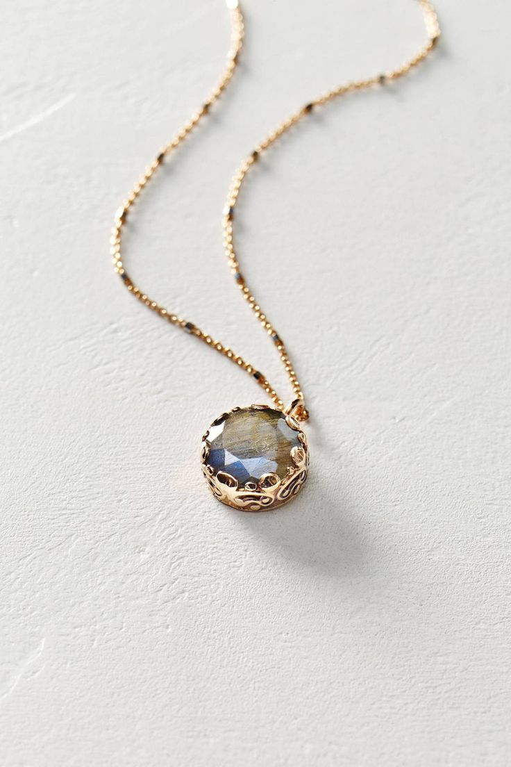 labradorite pendant necklace in 14k rose gold by arik kastan #anthroregistry...