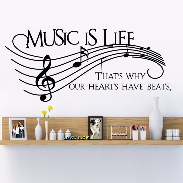 Find More Wall Stickers Information About Music Is Life Family Wall Decal  Quotes Music Note Wall Part 57