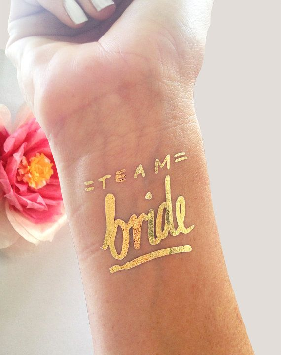 Bachelorette party tattoo, Team Bride tattoo © Set of 12, Bachelorette tattoos, Gold bachelorette temporary tattoos, Gold bridal party favor