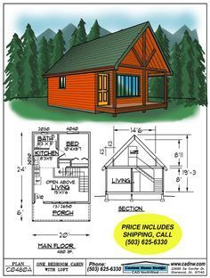 Drawing C0480A. 480 S.F. 20' by 24' Cabin with sleeping loft, 8'11. Can easily extend porch. Add more windows.