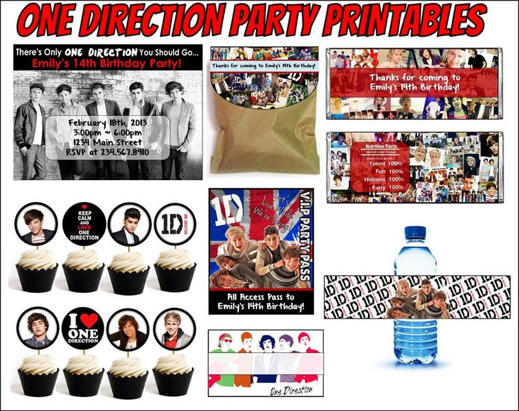 Printable One Direction Party Supplies - This 1D party kit comes personalized and ready-to-print!  Includes invitation, banner, favor wrappers, cupcake toppers, water bottle labels, tent cards, favor bag toppers and party badges!