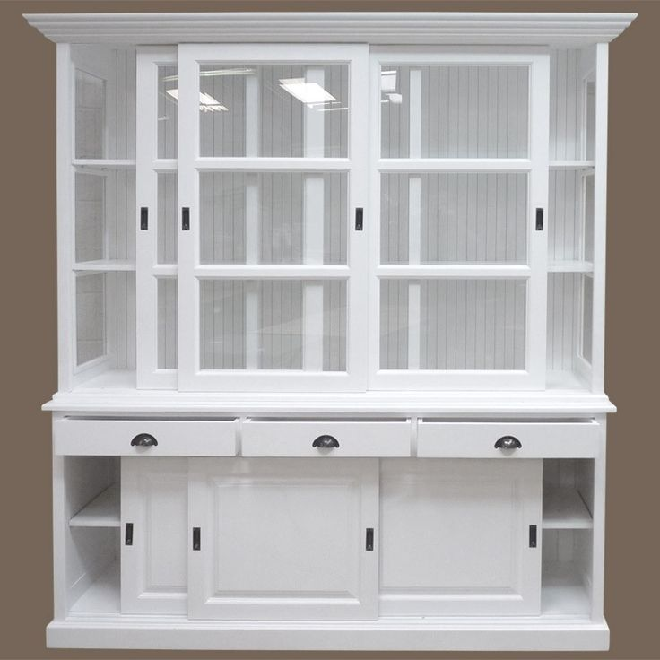 buffet vaisselier bois blanc 6 portes coulissantes 3. Black Bedroom Furniture Sets. Home Design Ideas
