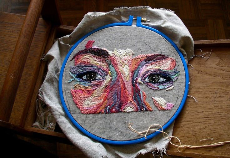 Embroidered self-portrait by Julie Sarloutte, #MAKE