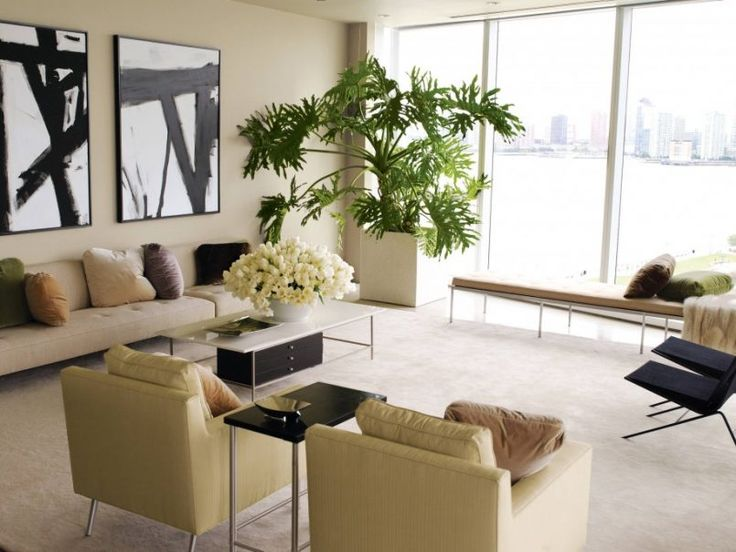 Living Room Cream Accent Chair With Green Plant Also White Futon And Black Sofa Cushion Besides
