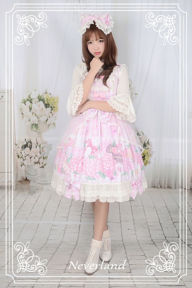 Cheap Perfume of Hydrangea Neverland Lolita JSK with Detachable Overskirt Sale At Lolita Dresses Online Shop