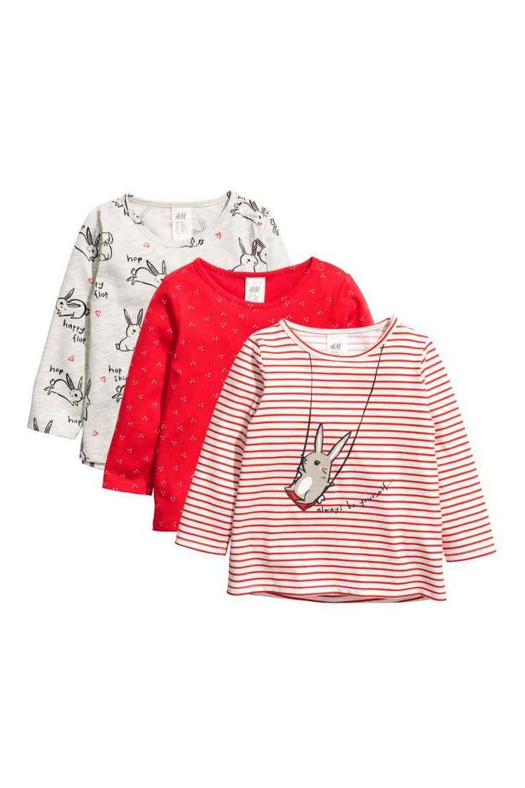 Pack de 3 camisetas de punto - Rojo vivo/Conejo - | H&M ES 1