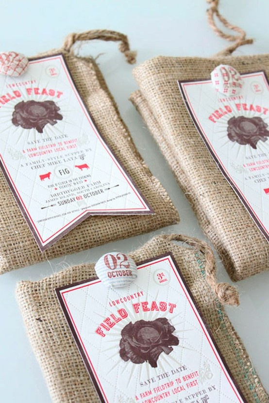 Field Feast Save The Date promotional packaging. Burlap and handmade labels.   Designed by Stitch Design Co.