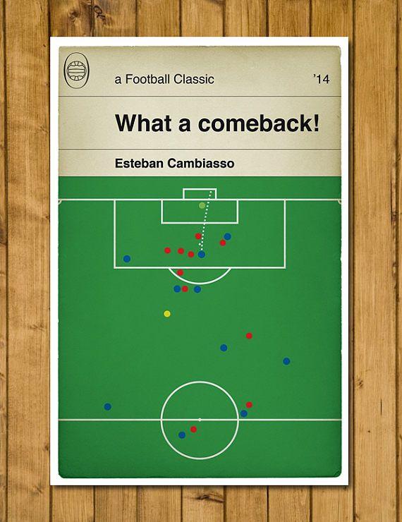 Leicester City but v Man Utd en 5-3 gagner 2014 - Esteban Cambiasso Print - livre couverture affiche - Football cadeau classique (différentes tailles)