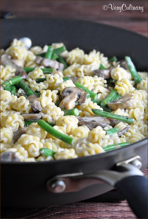 Mushrooms, Green Beans, and Asiago | Creamy Pasta, Green Beans and