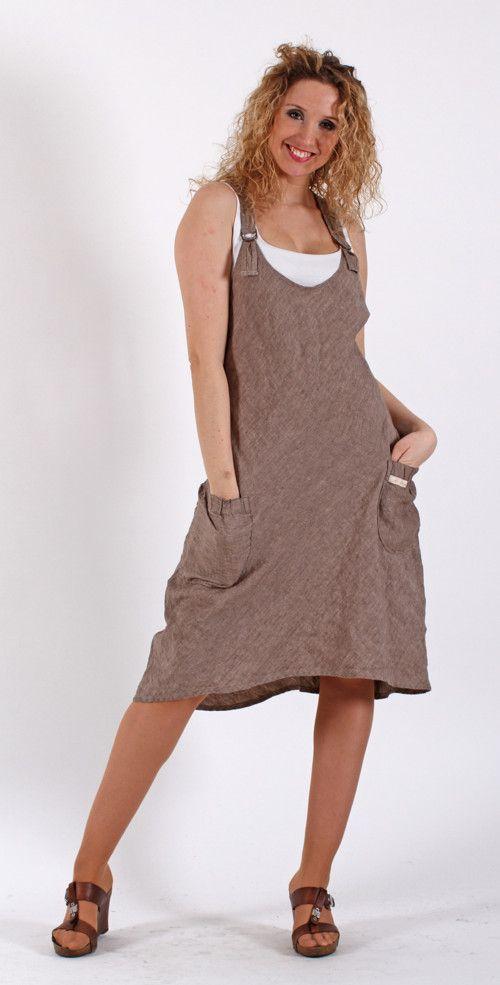 Lněná šatová sukně