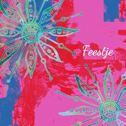 Kleurrijke uitnodiging bloemen - Uitnodigingen - Kaartje2go