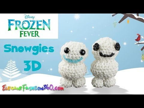 Rainbow Loom Frozen Fever Snowgies(Baby Snowman) 3D Charm - How to Loom Bands Tutorial DIY - YouTube
