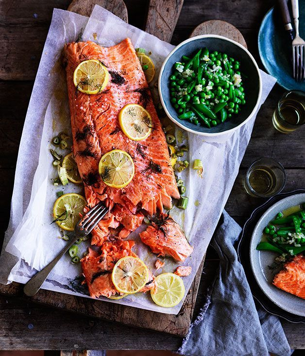 Slow-cooked ocean trout with peas, and Meyer lemon and fennel salsa :: Gourmet Traveller Magazine Mobile
