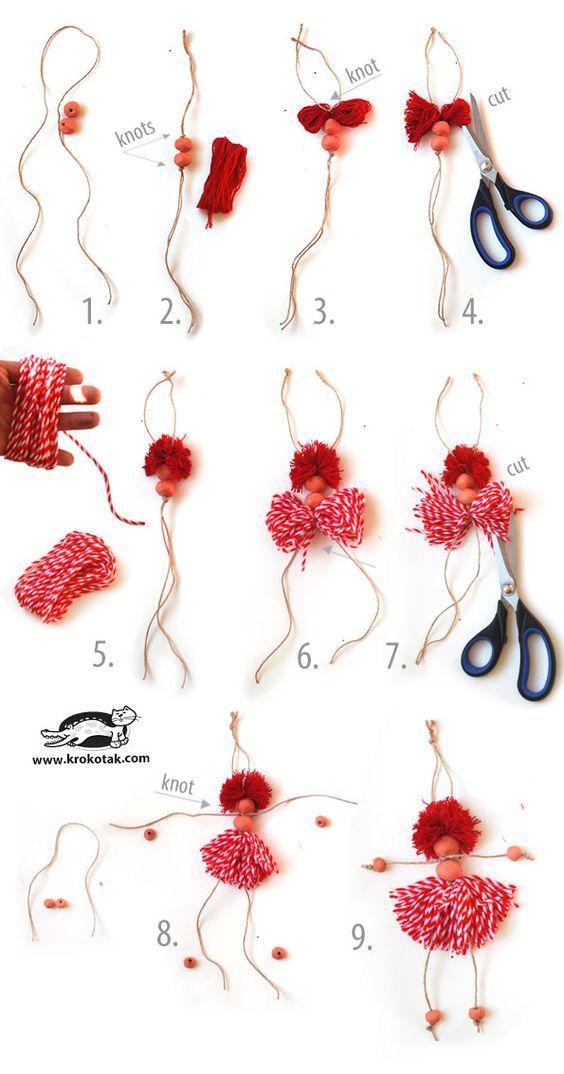 Bamboline di corda e lana: