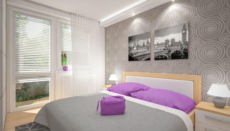 Ložnice s výraznou tapetou