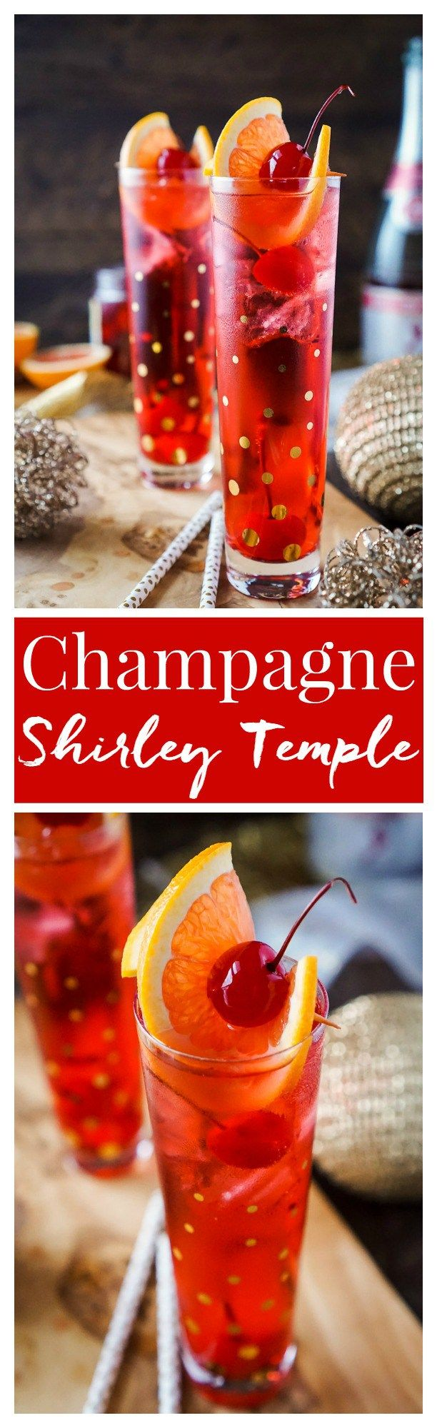 This Champagne Shirley Temple switches out soda for some bubbly for a twist on the classic! This is a great new years eve drink and perfect for other parties throughout the year! Just a few ingredients and you'll have a classy cocktail worth celebrating with!: