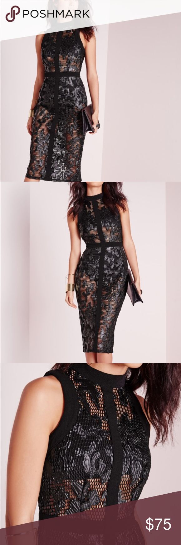 Sexy misguided body con lace dress Sexy. Its classy misguided body con dress.amazonf quality on the fabric! Missguided Dresses Midi