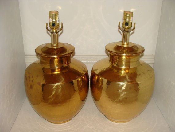 PAIR of Brass Ginger Jar Lamps Hammered Brass Hollywood Regency Chinoiserie Lamps by studio180 on Etsy, SOLD