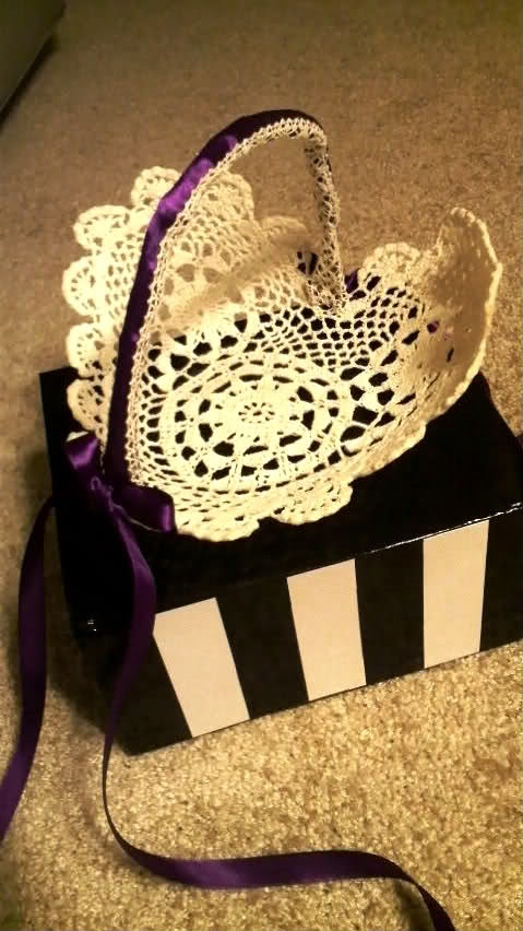 Crochet Doily Flower Basket