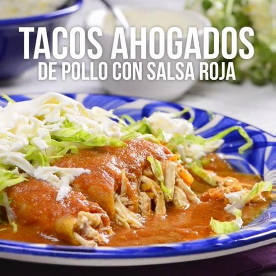 Video de Tacos Ahogados de Pollo con Salsa Roja