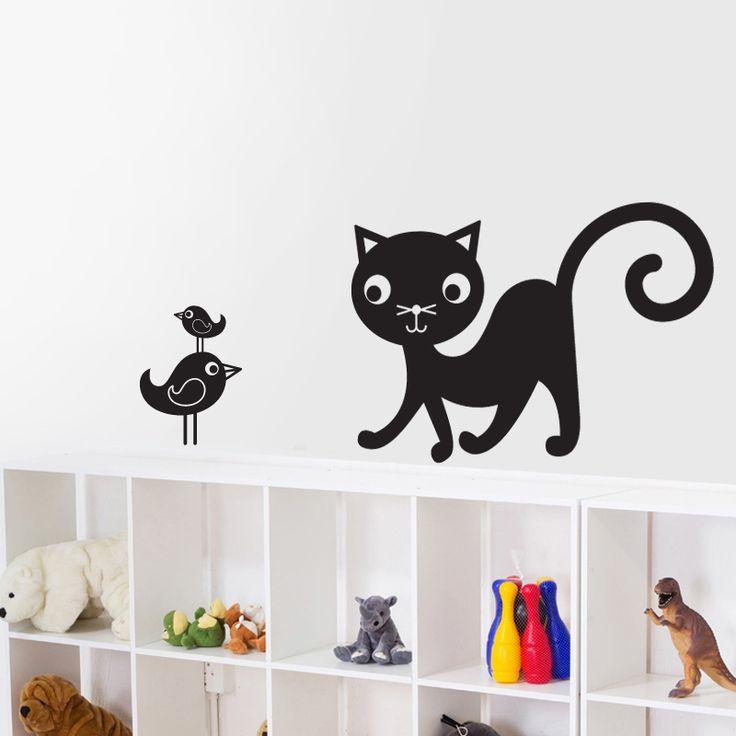 Kedi ve Kuş Çocuk Odası Sticker ::