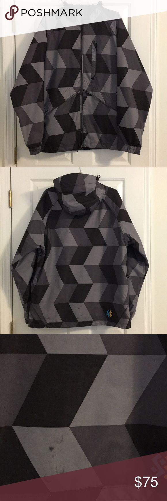 Special Blend Men's 15K Ski/Snowboard Jacket Black and gray geometric design. Underarm vents. Good condition. Small stain on back of jacket near bottom (see picture). Special Blend Jackets & Coats Ski & Snowboard