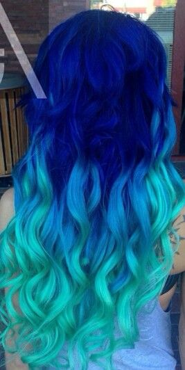 Royal blue turquoise ombre hair