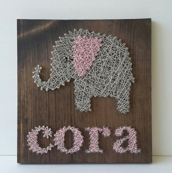 Personalized Name Custom String Art Elephant by CarolinaStrings