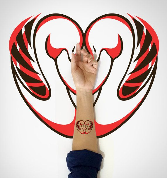 Swan love temporary Tattoo / Swans Temporary by EasternCloud, great for valentine's day or wedding