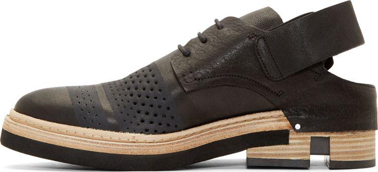 Cinzia Araia Black Leather Slingback Derbys