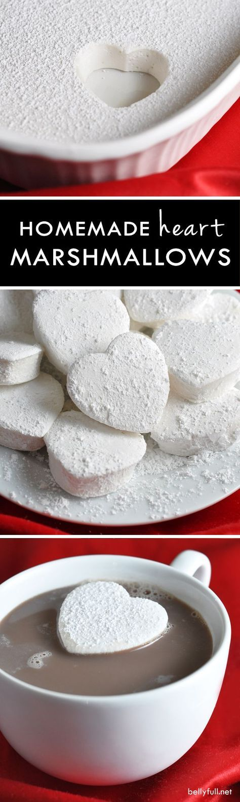 Rich and creamy homemade marshmallows shaped like hearts for Valentine's Day!