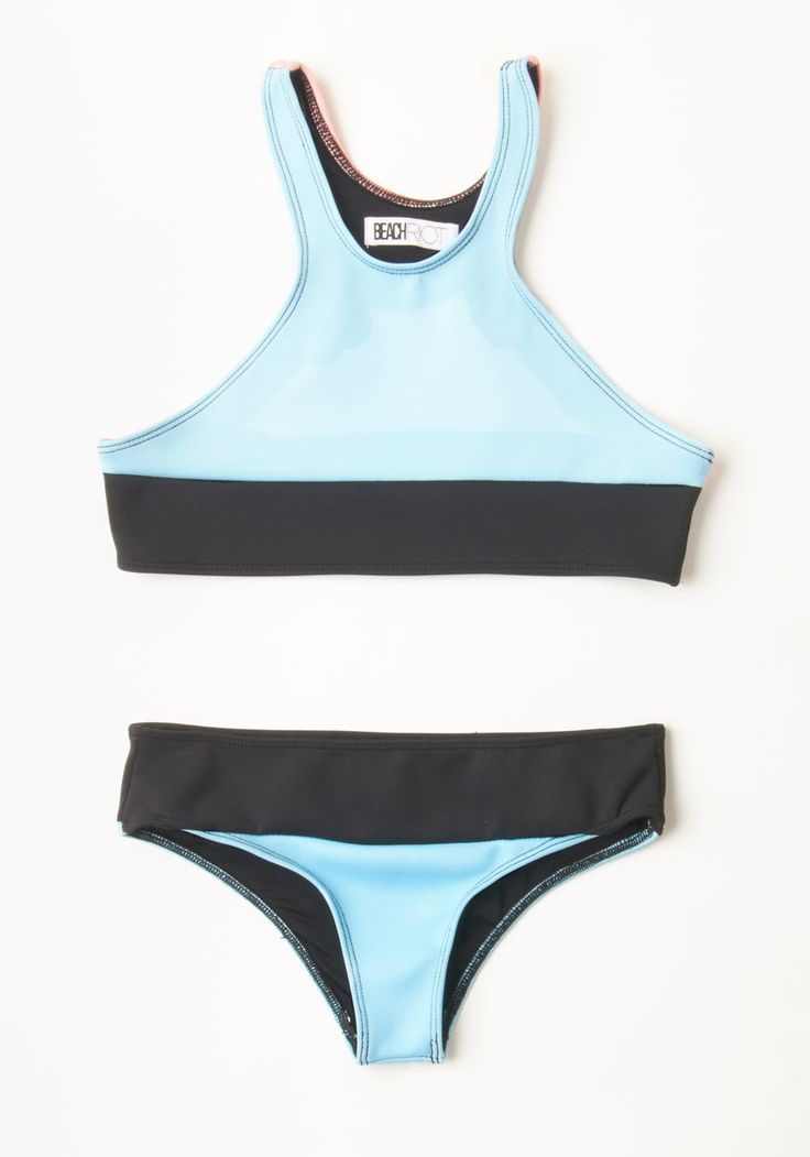 Beach Volleyball Swimsuit Top. You always feel winning when you spike the ball in this colorblocked bikini top from Beach Riot. #blue #modcloth