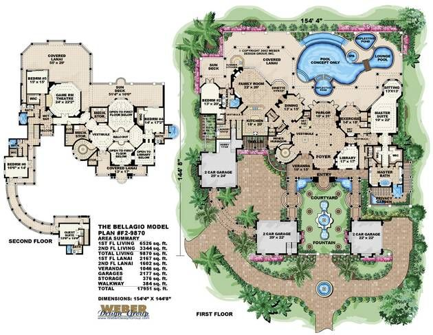 Bellagio house plan pool house plans swimming pools for Swimming pool site plan