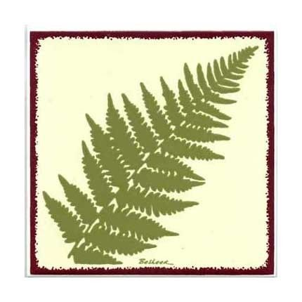 Fern Tile for Wall Plaque or Kitchen Backsplash by BesheerArtTile