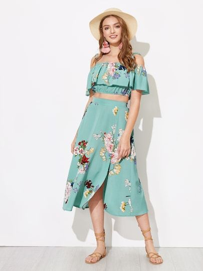 e4291baa1d Flounce Foldover Top and Split Skirt Set | Colorful Tops|Two-piece ...