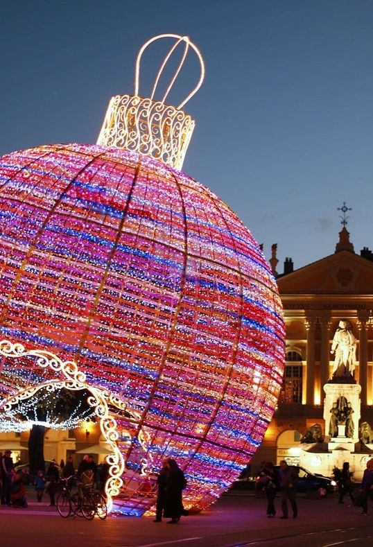 Giant Christmas ball decoration, Nice, France  An image travel guide about things to do in Nice France - a place full of beautiful landscapes in the amazing French Riviera! -- Have a look at http://www.travelerguides.net