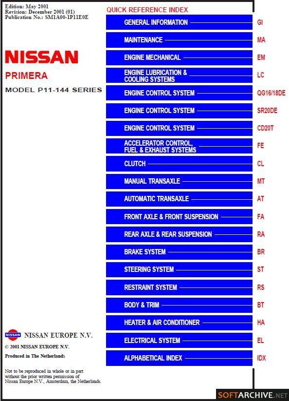 2001 Nissan Primera P12 Service Manual Free Download Nissan Primera Nissan Nissan Sentra