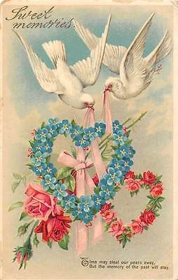 White-Dove-Birds-Sweet-Memories-Roses-Forget-me-Nots-Floral-Hearts-1913