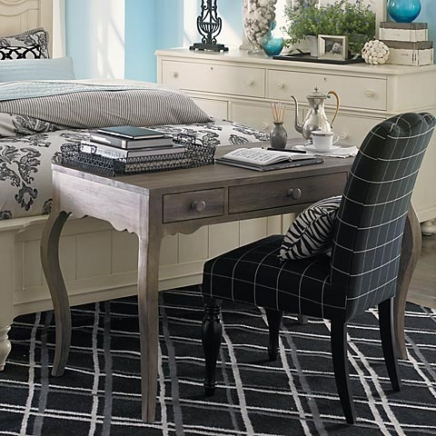 Love the desk and chair at the foot of the bed driftwood acacia desk by bassettfurniture