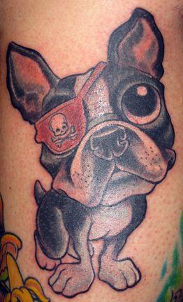 One eyed pug tattoo