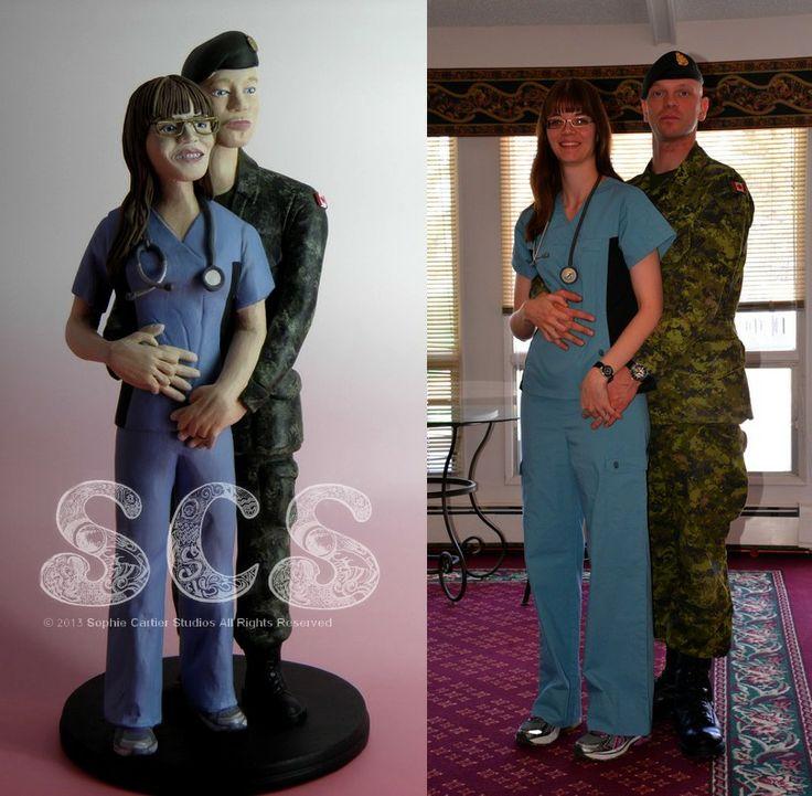 Custom Wedding Cake Topper Registered Nurse Canadian Solr Military Uniform Camouflage