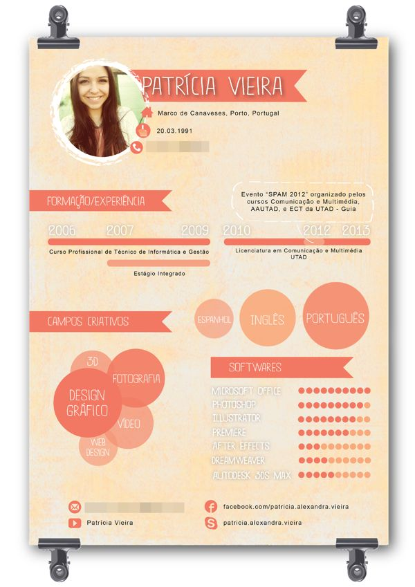 Curriculum Vitae - Infographic by Patrícia Vieira, via Behance