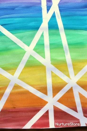 DIY Rainbow Watercolor Tape Art