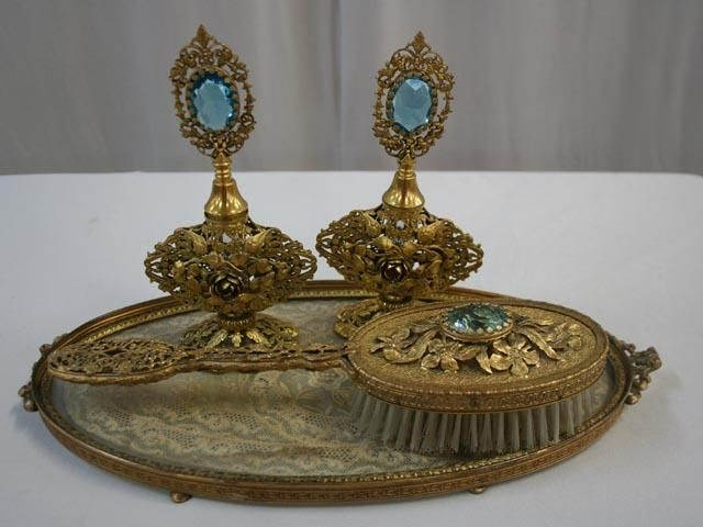 Gilded And Jewel Dresser Set With Tray