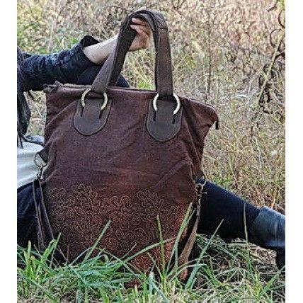 45 FRESSIA™ Haftowana torba na ramię bawełna-skóra pu