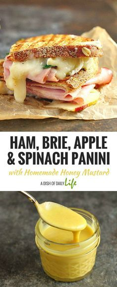 This Ham, Brie, Apple and Spinach Panini with Homemade Honey Mustard is a delicious combination of flavors for gourmet sandwich lovers everywhere! Plus it's a great way to use up leftover Easter ham! Sandwich | Panini