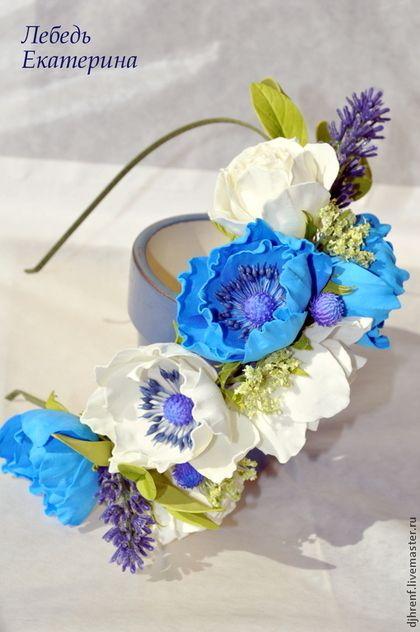Диадемы, обручи ручной работы. Ярмарка Мастеров - ручная работа. Купить Ободок с голубыми и кремовыми анемонами, кремовыми розами и лавандой. Handmade.