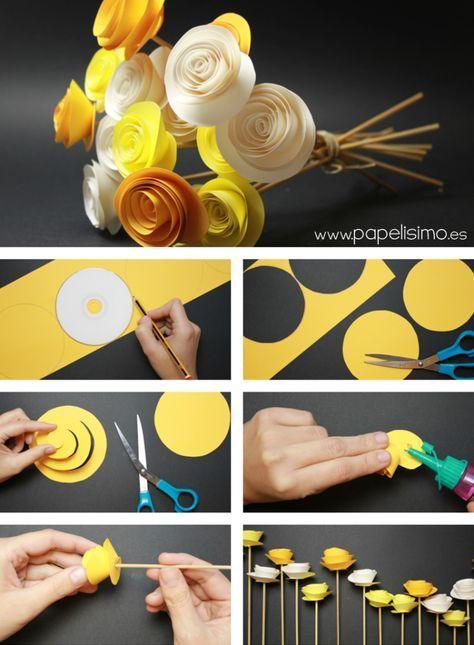 Ramo de rosas de papel amarillas. Manualidades para regalar Día de la Madre. Bouquet of yellow roses. Mother´s Day #DIY #Crafts #Paper #Flower
