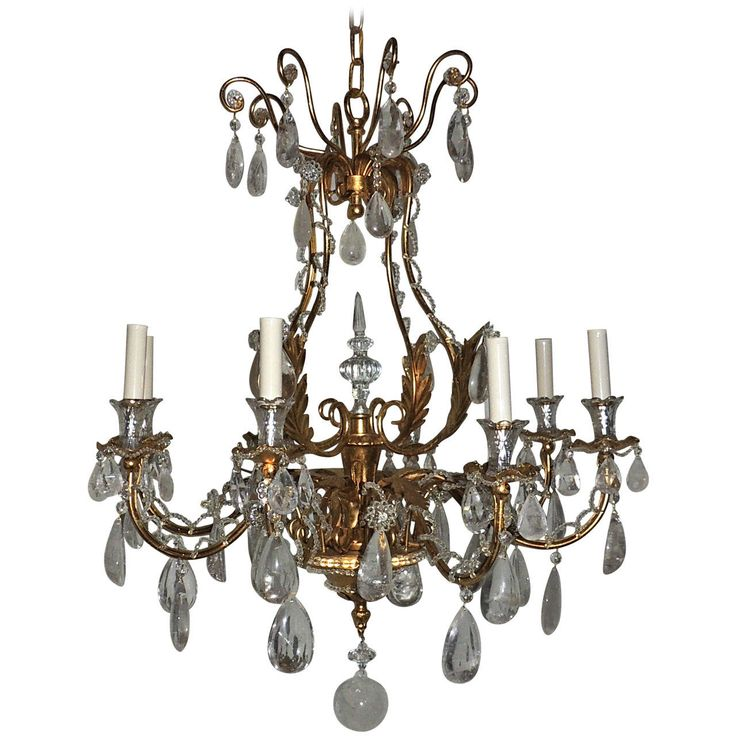 28 best rock crystal chandelier images on pinterest crystal extraordinary french eight light gilt beaded and rock crystal bagues chandelier aloadofball Image collections